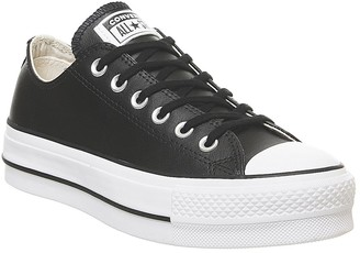 Converse Low Platform Trainers Black White Leather