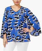 Alfani Plus Size Printed Split-Sleeve Top, Only at Macy's