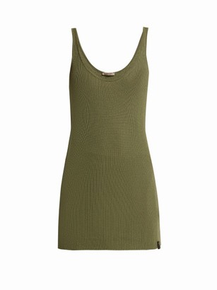 Bottega Veneta Extra-long Rib-knitted Cashmere Tank Top - Womens - Khaki
