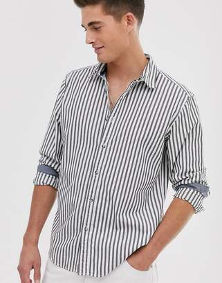 Esprit slim fit shirt with vertical stripe in grey-Black