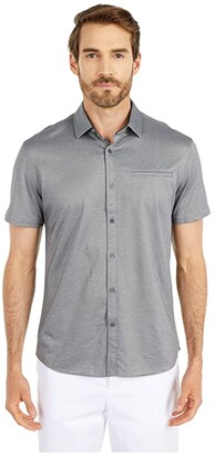 Vince Camuto Short Sleeve Sport Shirt with Hacking Pocket (Grey Solid) Men's Clothing