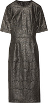 Rebecca Vallance Metallic coated cotton-blend lace midi dress