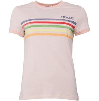 Brave Soul Womens Starsky Crew Neck T-Shirt Peach/Coral