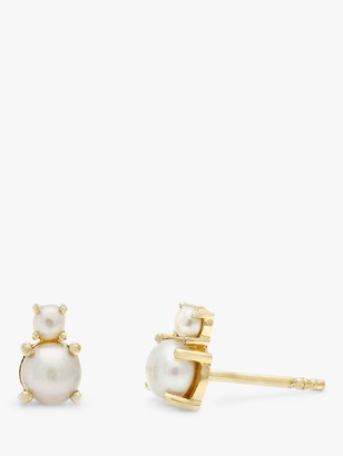 Leah Alexandra Double Freshwater Pearl Stud Earrings, Gold/White