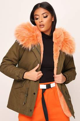 I SAW IT FIRST Khaki Contrast Orange Faux Fur Hood Parka
