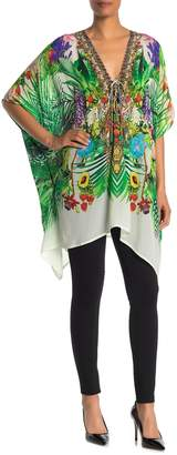 Shahida Parides Printed Lace-Up Embellished Kaftan