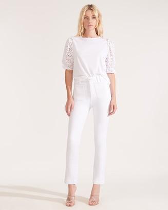 Veronica Beard Carly High-Rise Kick-Flare White Jean