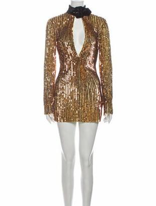 ATTICO V-Neck Mini Dress Gold