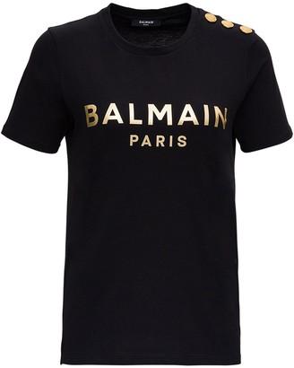 Balmain Logo Button Embellished T-Shirt