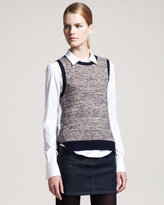 Theory Marled Stretch-Wool Sweater Vest