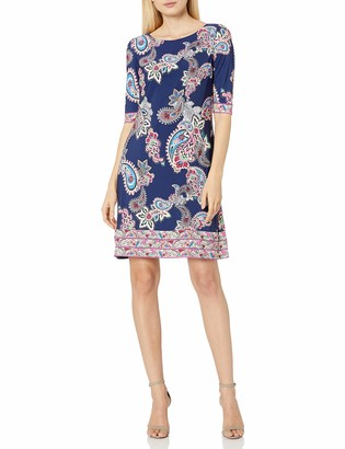 Eliza J Women's Elbow Sleeve Paisley Printed Ground T-Body Shift Dress with Exposed Zipper