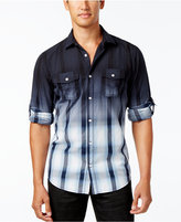 INC International Concepts Men's Dip-Dyed Cloudy Plaid Shirt, Created for Macy's