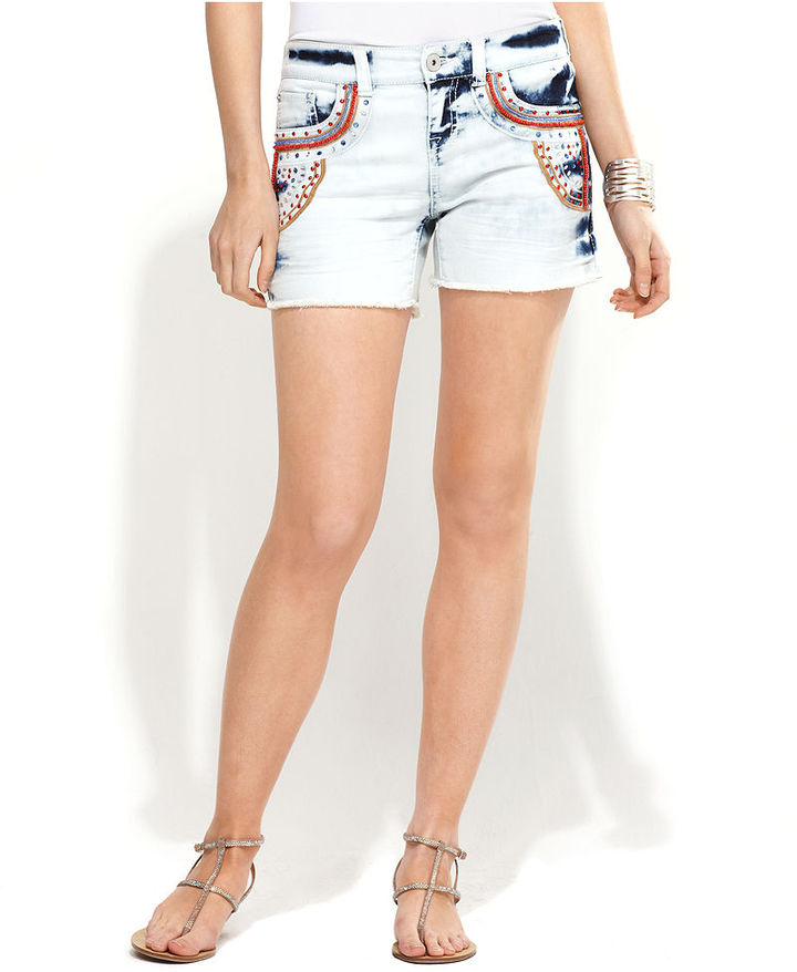 INC International Concepts Jeans, Beaded Bleached Denim Shorts