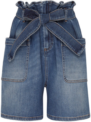 RED Valentino Paperbag-Tied Denim Shorts