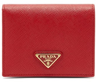Prada Triangle-plaque Saffiano-leather Wallet - Red