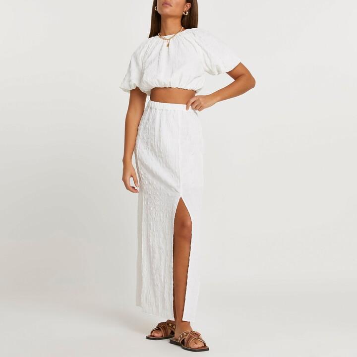 River Island Womens White a line floral maxi skirt