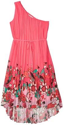 Ted Baker Ive Pinata Dip Hem One Shoulder Maxi Dress (Bright Pink) Women's Dress