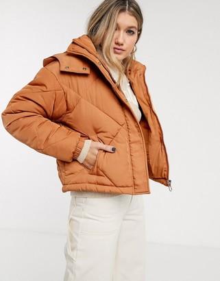 Topshop padded coat in caramel-Tan