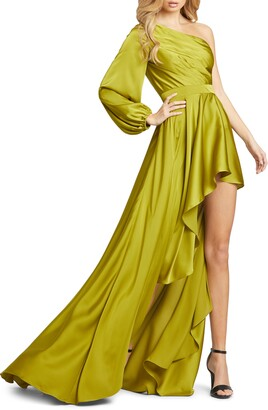 Mac Duggal One-Shoulder Long Sleeve Satin High/Low Gown