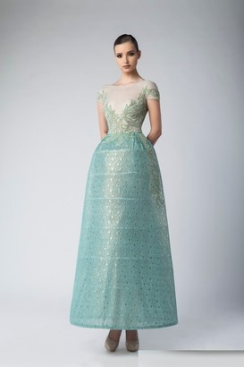 Divina by Edward Arsouni Green Short Sleeve Tulle Evening Gown