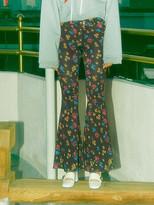 BOOTCUT Leggings Pants - Floret Purple Black