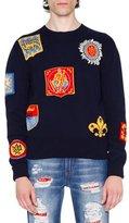 Alexander McQueen Crest Intarsia Sweater, Navy