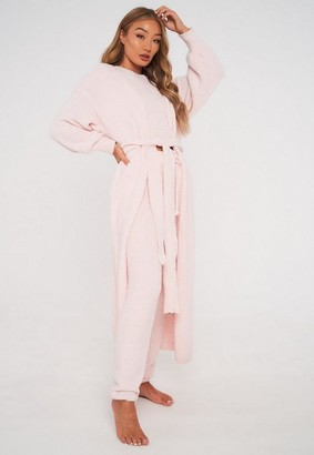 Missguided Pink Popcorn Knit Maxi Cardigan