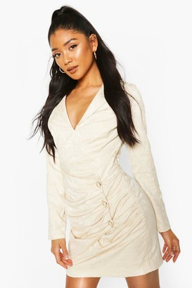 boohoo Occasion Wrap Pearl Button Blazer Dress