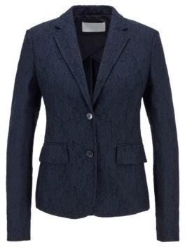 HUGO BOSS Regular Fit Jacket In Bonded Lace - Light Blue