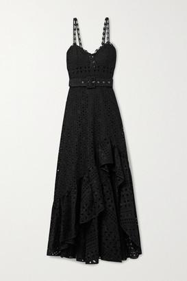 Charo Ruiz Ibiza Julie Belted Broderie Anglaise Cotton-blend Midi Dress - Black