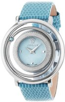 "Versace Women's VFH020013 ""Venus"" Stainless Steel Topaz-Accented Watch with Leather Band"