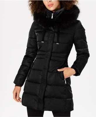 Tahari Faux-Fur-Trim Down Puffer Coat