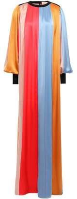 Roksanda Oversized Color-block Silk-satin Gown
