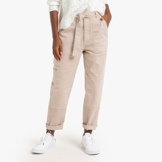 La Redoute Collections Straight Cut Trousers with Tie Belt, Length 27.5""