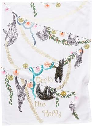 Anthropologie Home Deck the Halls Sloth Dish Towel