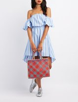 Charlotte Russe Striped Off-The-Shoulder High-Low Dress
