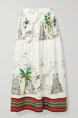Le Sirenuse Positano New Jane Printed Cotton Midi Skirt - White