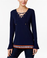 MICHAEL Michael Kors Lace-Up Bell-Sleeve Top