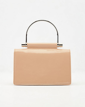 Le Château Patent Faux Leather Top Handle Clutch