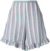 See by Chloe striped ruffle trim shorts - women - Cotton/Spandex/Elastane - 36