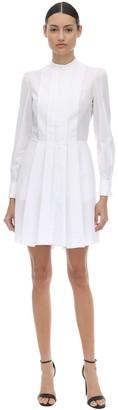 Alexander McQueen Cotton Poplin Mini Dress W/Pique Detail