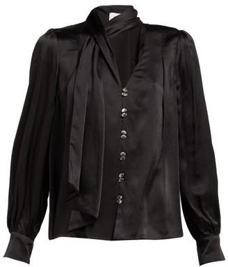 Aje Astrid Neck Scarf Hammered Silk Blouse - Black
