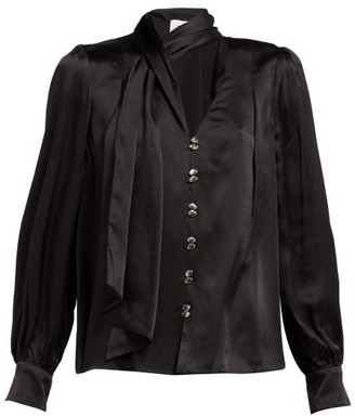 Aje Astrid Neck Scarf Hammered Silk Blouse - Womens - Black