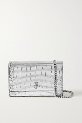 Alexander McQueen Skull Small Metallic Croc-effect Leather Shoulder Bag - Silver