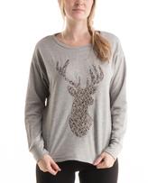 Gray & Silver Sequin Deer Sweatshirt