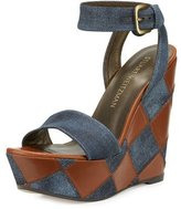 Stuart Weitzman Letsdance Patchwork Wedge Sandal, Navy