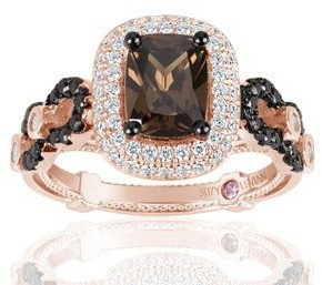 Suzy L.Ian Suzy L. Rose Sterling Silver Brown Chocolate and White Cubic Zirconia Engagement Ring