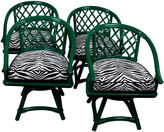 One Kings Lane Vintage Ficks Reed Zebra Trellis Chairs, S/4