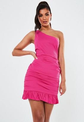 Missguided Pink Poplin One Shoulder Ruffle Hem Mini Dress