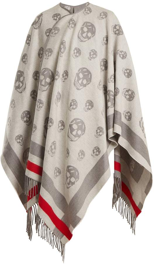 Alexander McQueen Skull wool and cashmere-blend cape
